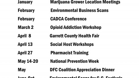 Upcoming Garrett County Drug Free Communities Coalition Action Team Events