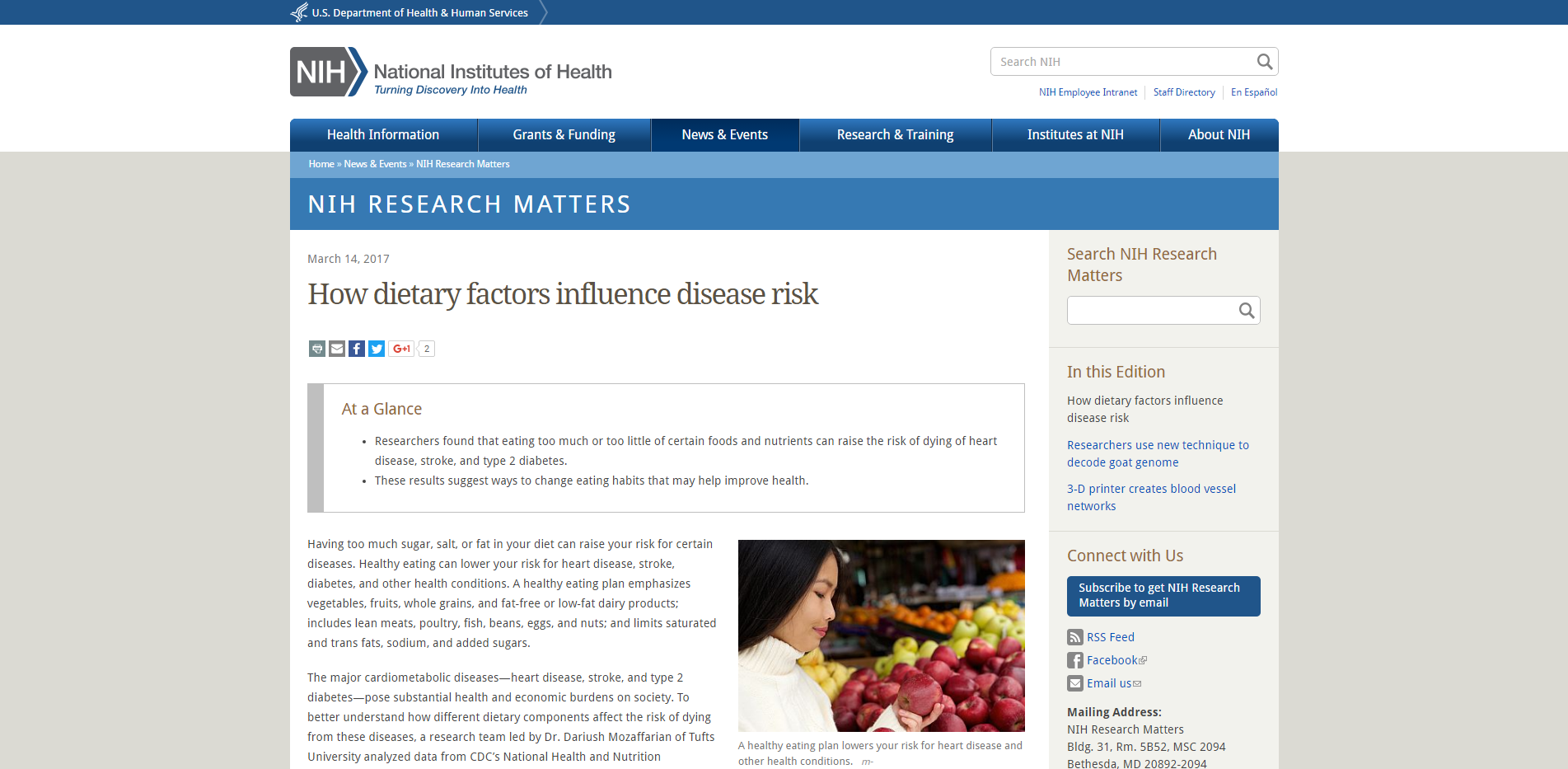 How dietary factors influence disease risk National Institutes of Health NIH