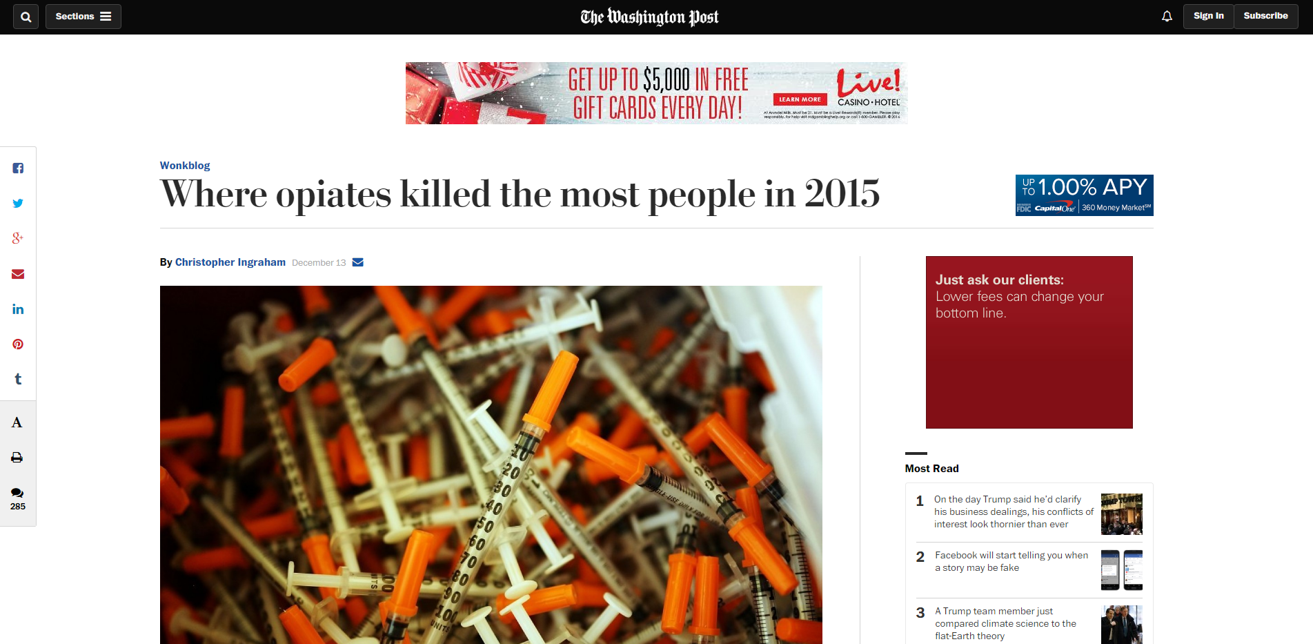 Where opiates killed the most people in 2015 The Washington Post