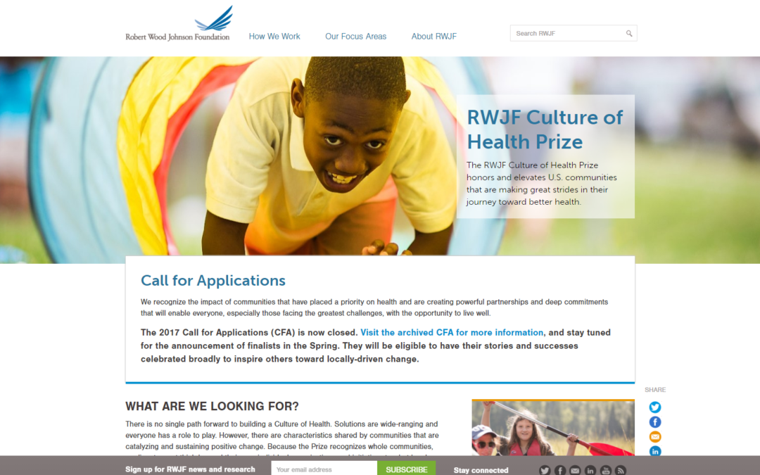 Garrett County Selected as Finalist for RWJF Culture of Health Prize