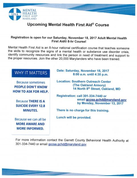 Upcoming Mental Health First Aid® Course