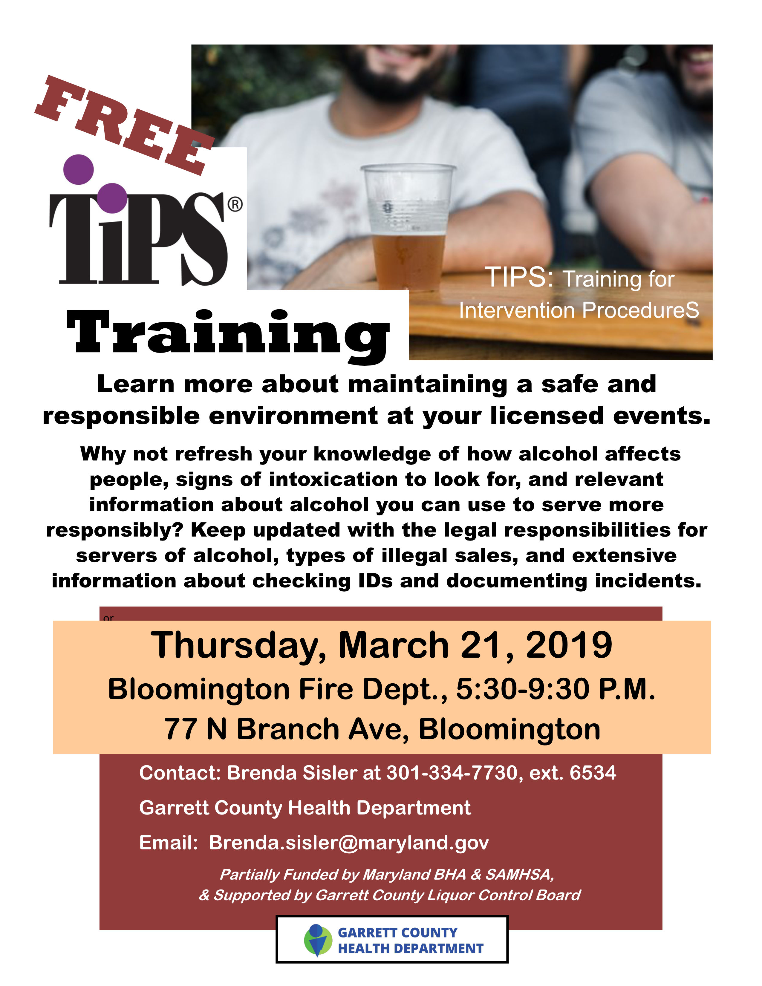 Two More FREE TIPS Trainings Offered by the Garrett County